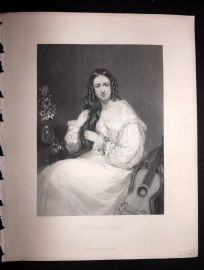 After Bostock 1846 Antique Pretty Lady Print. Katherine Airlie. Guitar Music